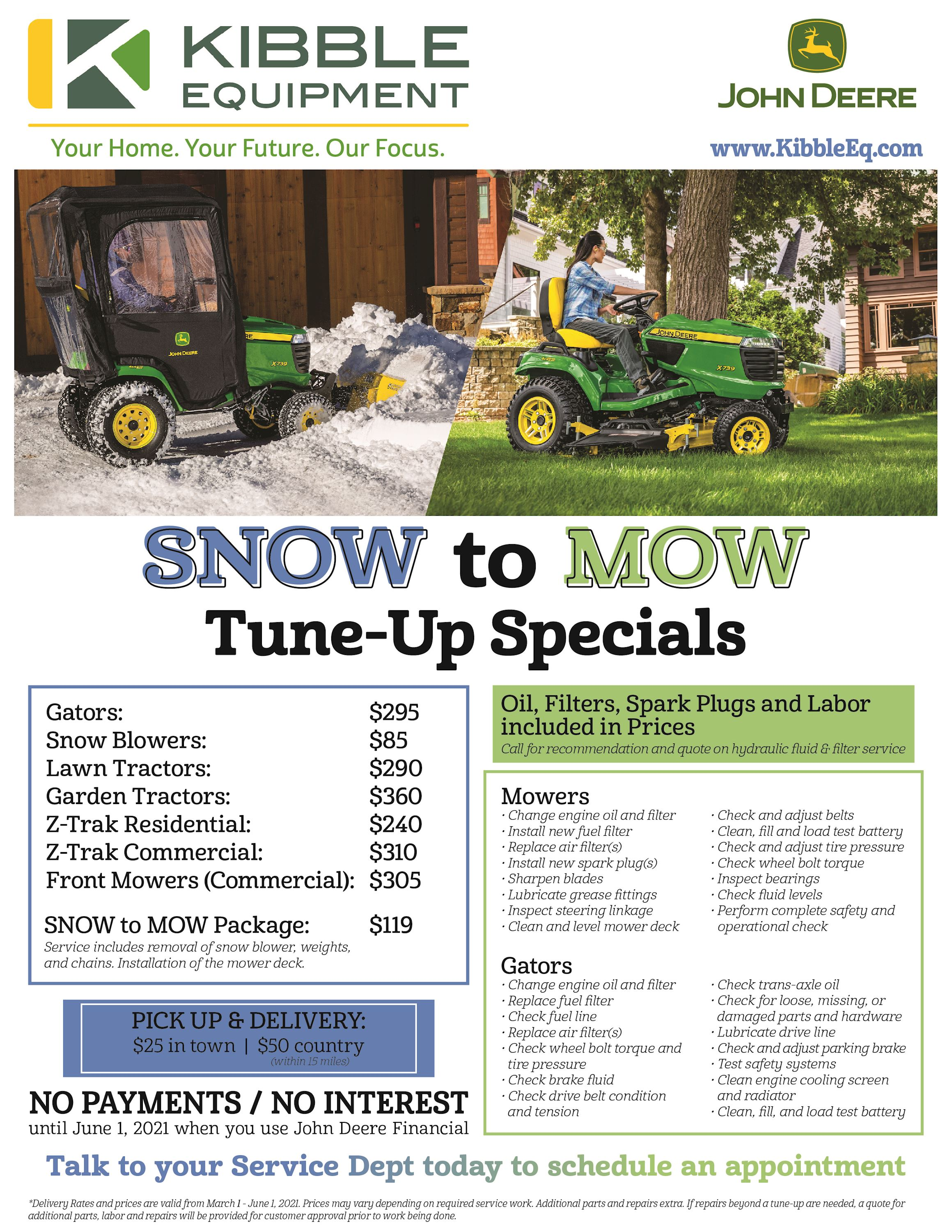 Snow to Mow Tune-Up Specials
